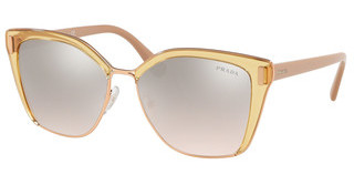 Prada PR 56TS MQH204 BROWN MIRROR SILVER GRADTRANSPARENT BROWN/PINK GOLD